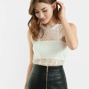 NWT Express White Lace Mesh Bandeau Top